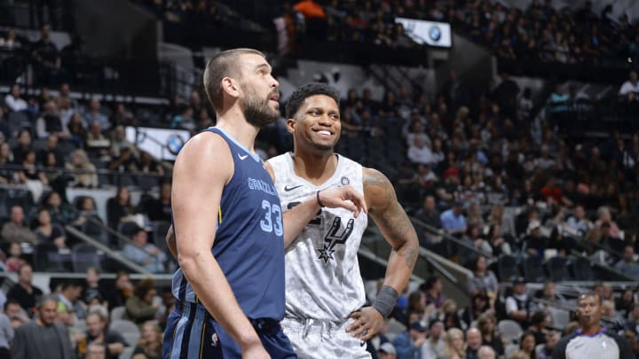 SAN ANTONIO, TX – JANUARY 5: Marc Gasol #33 of the Memphis Grizzlies and Rudy Gay #22 of the San Antonio Spurs share a laugh during the game on January 5, 2019 at the AT&T Center in San Antonio, Texas. (Photos by Mark Sobhani/NBAE via Getty Images)