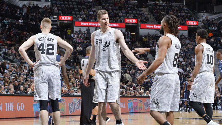 SAN ANTONIO, TX – JANUARY 5: Jakob Poeltl #25 of the San Antonio Spurs and Patty Mills #8 of the San Antonio Spurs celebrate during the game against the Memphis Grizzlies on January 5, 2019 at the AT&T Center in San Antonio, Texas. (Photos by Mark Sobhani/NBAE via Getty Images)