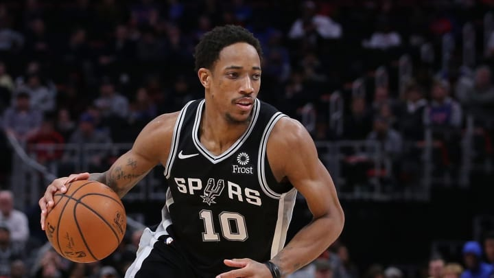 DETROIT, MI – JANUARY 7: DeMar DeRozan #10 of the San Antonio Spurs drives the ball to the basket during the fourth quarter of there game against the Detroit Pistons at Little Caesars Arena on January 7, 2019 in Detroit, Michigan. San Antonio defeated Detroit 119-107. (Photo by Leon Halip/Getty Images)