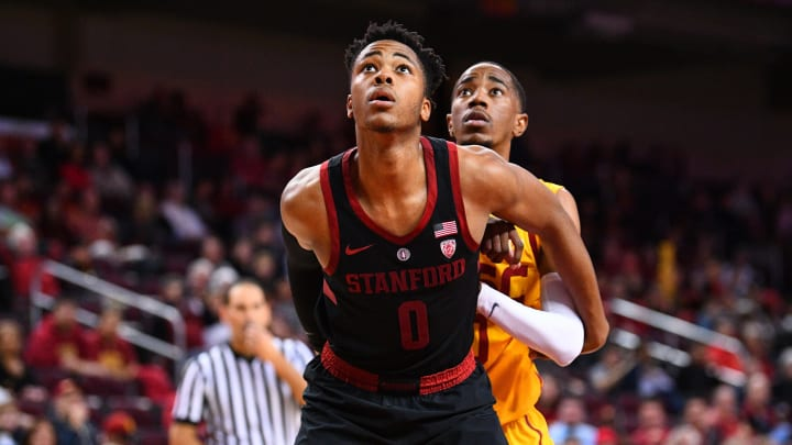 LOS ANGELES, CA – JANUARY 06: Stanford forward Kezie Okpala (0) boxes out for a rebound during a college basketball game between the Stanford Cardinal and the USC Trojans on January 6, 2019, at the Galen Center in Los Angeles, CA. (Photo by Brian Rothmuller/Icon Sportswire via Getty Images)