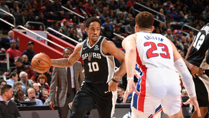 DETROIT, MI – JANUARY 7: DeMar DeRozan #10 of the San Antonio Spurs handles the ball against the Detroit Pistons on January 7, 2019 at Little Caesars Arena in Detroit, Michigan. (Photo by Chris Schwegler/NBAE via Getty Images)