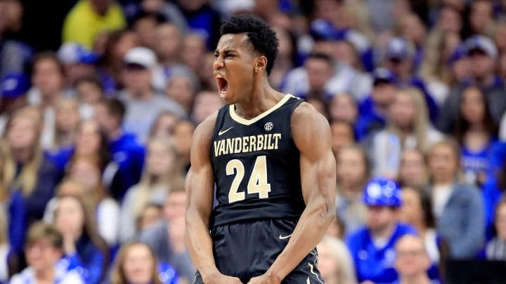 LEXINGTON, KY – JANUARY 12: Aaron Nesmith #24 of the Vanderbilt Commodores celebrates in the game against the Kentucky Wildcats. He's a potential lottery pick in the 2020 NBA Draft. (Photo by Andy Lyons/Getty Images)