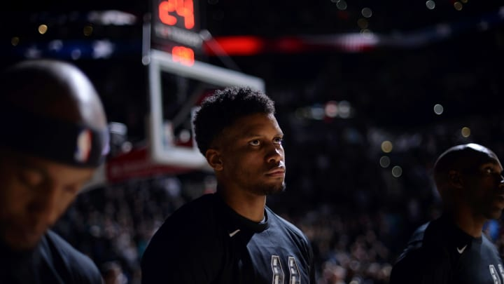 SAN ANTONIO, TX – JANUARY 20: Rudy Gay #22 of the San Antonio Spurs stands for the antional anthem before the game against the LA Clippers on January 20, 2019 at the AT&T Center in San Antonio, Texas. (Photos by Mark Sobhani/NBAE via Getty Images)