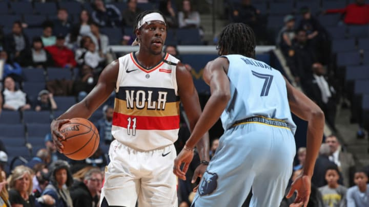MEMPHIS, TN - JANUARY 21: Jrue Holiday #11 of the New Orleans Pelicans handles the ball against the Memphis Grizzlies on January 21, 2019 at FedExForum in Memphis, Tennessee. NOTE TO USER: User expressly acknowledges and agrees that, by downloading and or using this photograph, User is consenting to the terms and conditions of the Getty Images License Agreement. Mandatory Copyright Notice: Copyright 2019 NBAE (Photo by Joe Murphy/NBAE via Getty Images)