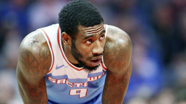 LOS ANGELES, CA – JANUARY 27: Iman Shumpert #9 of the Sacramento Kings looks on against the LA Clippers on January 27, 2019 (Photo by Chris Elise/NBAE via Getty Images)
