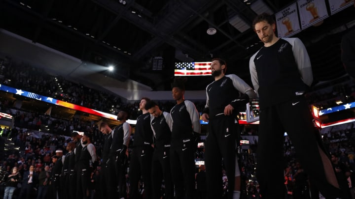 SAN ANTONIO, TX – JANUARY 29: The San Antonio Spurs stand during the national anthem before an NBA game against the Phoenix Suns held January 29, 2019 at the AT&T Center in San Antonio, Texas. (Photo by Edward A. Ornelas/Getty Images)