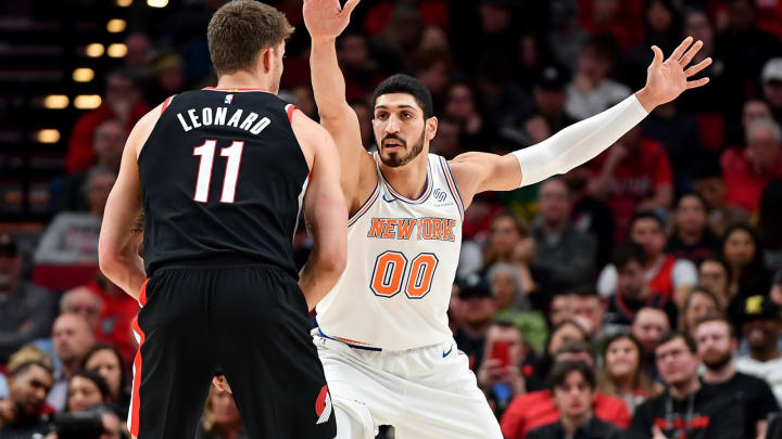 PORTLAND, OREGON – JANUARY 07: Enes Kanter #00 of the New York Knicks defends against Meyers Leonard #11 of the Portland Trail Blazers (Photo by Alika Jenner/Getty Images)