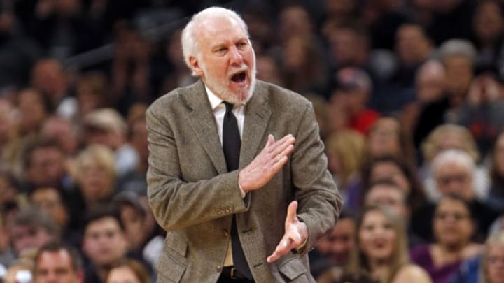 SAN ANTONIO, TX - JANUARY 31: Gregg Popvich head coach of the San Antonio Spurs reacts during game against the Brooklyn Nets at AT&T Center on January 31, 2019 in San Antonio, Texas. NOTE TO USER: User expressly acknowledges and agrees that , by downloading and or using this photograph, User is consenting to the terms and conditions of the Getty Images License Agreement. (Photo by Ronald Cortes/Getty Images)