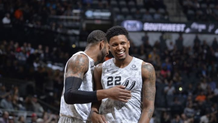 SAN ANTONIO, TX - FEBRUARY 2: LaMarcus Aldridge #12 of the San Antonio Spurs smiles with Rudy Gay #22 of the San Antonio Spurs during the game against the New Orleans Pelicans on February 2, 2019 at the AT&T Center in San Antonio, Texas. NOTE TO USER: User expressly acknowledges and agrees that, by downloading and or using this photograph, user is consenting to the terms and conditions of the Getty Images License Agreement. Mandatory Copyright Notice: Copyright 2019 NBAE (Photos by Mark Sobhani/NBAE via Getty Images)