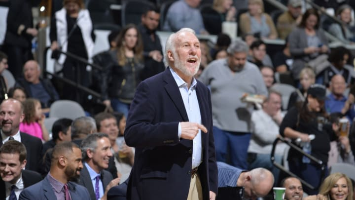SAN ANTONIO, TX – FEBRUARY 2: Gregg Popovich of the San Antonio Spurs looks on during the game against the New Orleans Pelicans on February 2, 2019 (Photos by Mark Sobhani/NBAE via Getty Images)