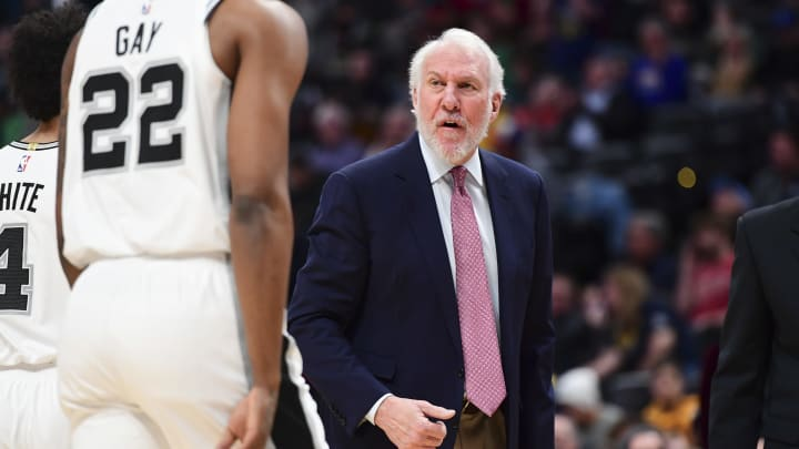 DENVER, CO – DECEMBER 28: Gregg Popovich of the San Antonio Spurs coaches from the bench against the Denver Nuggets at Pepsi Center on December 28, 2018 in Denver, Colorado. (Photo by Justin Tafoya/Getty Images)