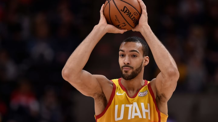 SALT LAKE CITY, UT – FEBRUARY 09: Rudy Gobert #27 of the Utah Jazz looks to pass the ball in the first half of an NBA game against the San Antonio Spurs at Vivint Smart Home Arena. (Photo by Gene Sweeney Jr./Getty Images)
