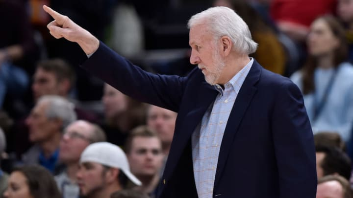 SALT LAKE CITY, UT - FEBRUARY 09: Head coach Gregg Popovich of the San Antonio Spurs gestures down court in the first half of a NBA game against the Utah Jazz at Vivint Smart Home Arena on February 09, 2019 in Salt Lake City, Utah. NOTE TO USER: User expressly acknowledges and agrees that, by downloading and or using this photograph, User is consenting to the terms and conditions of the Getty Images License Agreement. (Photo by Gene Sweeney Jr./Getty Images)