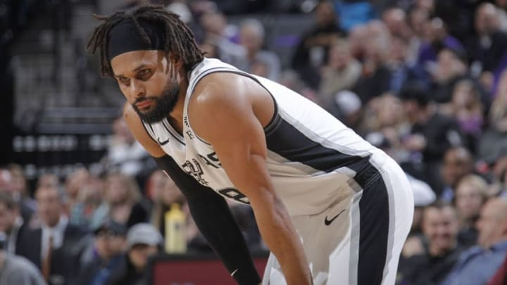 SACRAMENTO, CA - FEBRUARY 4: Patty Mills #8 of the San Antonio Spurs looks on during the game against the Sacramento Kings on February 4, 2019 at Golden 1 Center in Sacramento, California. NOTE TO USER: User expressly acknowledges and agrees that, by downloading and or using this photograph, User is consenting to the terms and conditions of the Getty Images Agreement. Mandatory Copyright Notice: Copyright 2019 NBAE (Photo by Rocky Widner/NBAE via Getty Images)