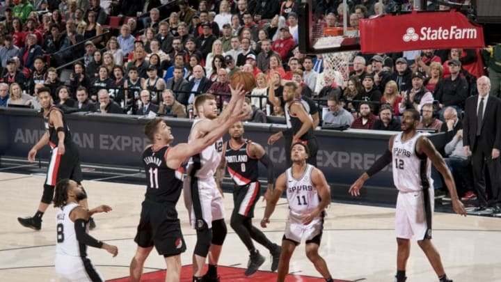 PORTLAND, OR - FEBRUARY 7: Davis Bertans #42 of the San Antonio Spurs shoots the ball against the Portland Trail Blazers on February 7, 2019 at the Moda Center Arena in Portland, Oregon. NOTE TO USER: User expressly acknowledges and agrees that, by downloading and or using this photograph, user is consenting to the terms and conditions of the Getty Images License Agreement. Mandatory Copyright Notice: Copyright 2019 NBAE (Photo by Cameron Browne/NBAE via Getty Images)