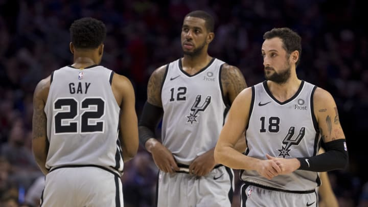 PHILADELPHIA, PA – JANUARY 23: Rudy Gay #22, LaMarcus Aldridge #12, and Marco Belinelli #18 of the San Antonio Spurs in action against the Philadelphia 76ers (Photo by Mitchell Leff/Getty Images)