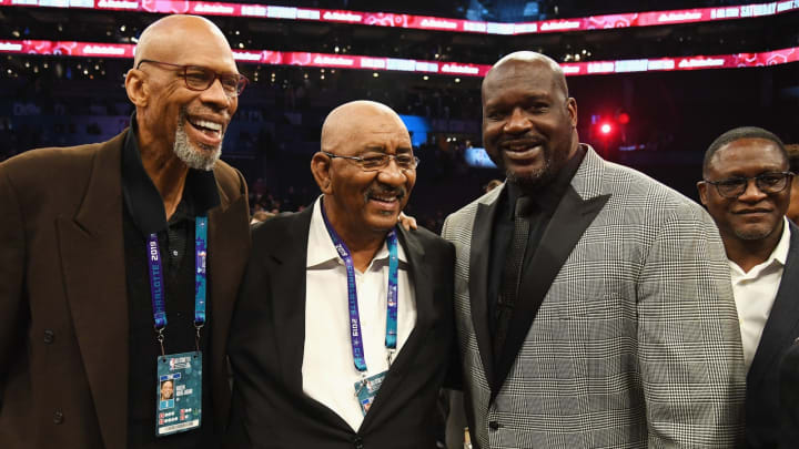 CHARLOTTE, NC – FEBRUARY 16: (L-R) Kareem Abdul-Jabbar, George Gervin, Shaquille O'Neal, and Dominique Wilkins attend the 2019 State Farm All-Star Saturday Night at Spectrum Center on February 16, 2019 in Charlotte, North Carolina. (Photo by Kevin Mazur/Getty Images)