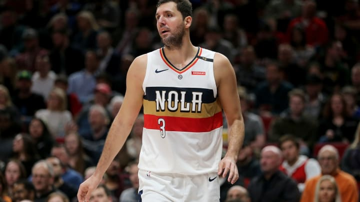 PORTLAND, OR – JANUARY 18: Nikola Mirotic #3 of the New Orleans Pelicans reacts against the Portland Trail Blazers in the third quarter during their game at Moda Center on January 18, 2019 in Portland, Oregon. (Photo by Abbie Parr/Getty Images)