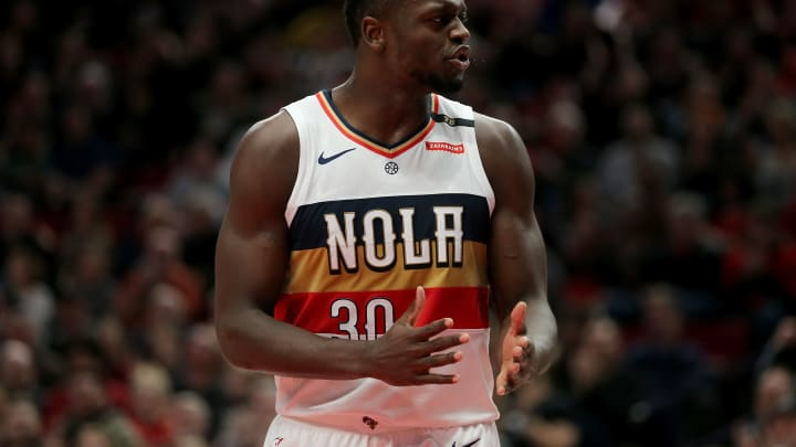 PORTLAND, OR – JANUARY 18: Julius Randle #30 of the New Orleans Pelicans reacts against the Portland Trail Blazers in the second quarter during their game at Moda Center on January 18, 2019 in Portland, Oregon. (Photo by Abbie Parr/Getty Images)