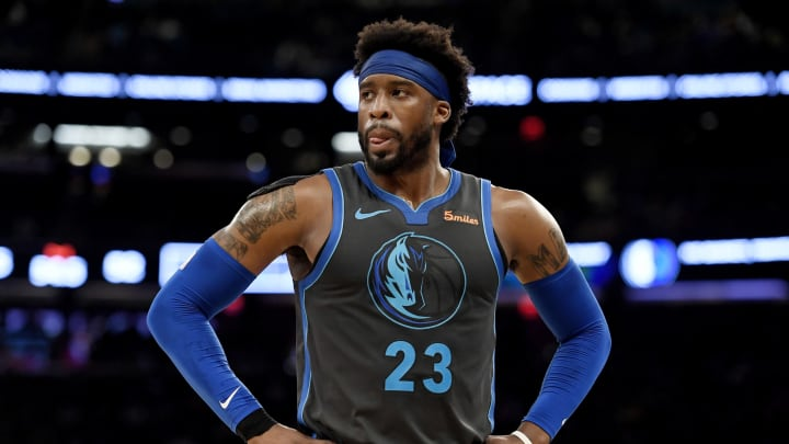 NEW YORK, NEW YORK – JANUARY 30: Wesley Matthews #23 of the Dallas Mavericks looks on during the second quarter of the game against the New York Knicks (Photo by Sarah Stier/Getty Images)