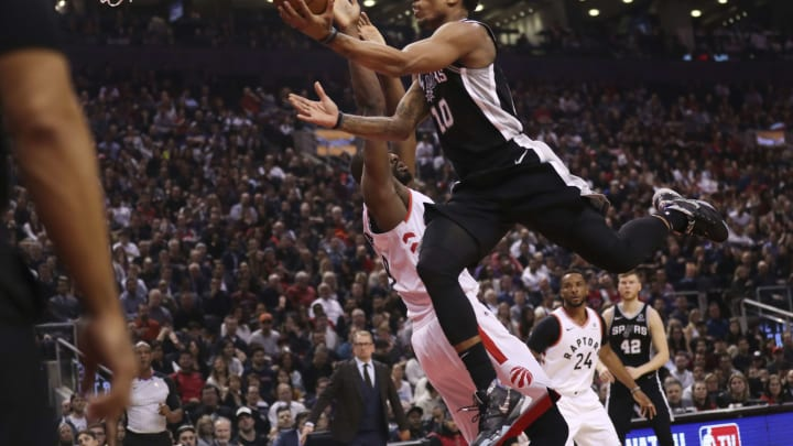 TORONTO, ON – February 22: In first half action, San Antonio Spurs guard DeMar DeRozan (10) goes up for a basket against the Toronto Raptors in NBA basketball action (Richard Lautens/Toronto Star via Getty Images)