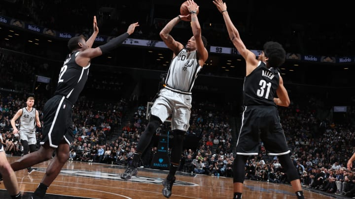 BROOKLYN, NY – FEBRUARY 25: DeMar DeRozan #10 of the San Antonio Spurs shoots the ball against the Brooklyn Nets on February 25, 2019 at Barclays Center in Brooklyn, New York. (Photo by Nathaniel S. Butler/NBAE via Getty Images)