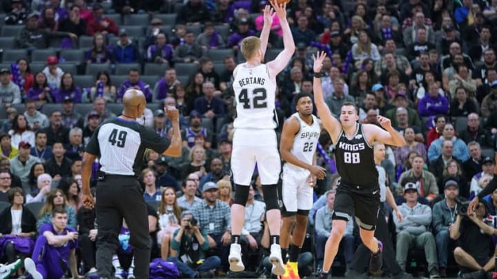 SACRAMENTO, CA - FEBRUARY 04: Davis Bertans #42 of the San Antonio Spurs shoots over Nemanja Bjelica #88 of the Sacramento Kings during an NBA basketball game at Golden 1 Center on February 4, 2019 in Sacramento, California. NOTE TO USER: User expressly acknowledges and agrees that, by downloading and or using this photograph, User is consenting to the terms and conditions of the Getty Images License Agreement. (Photo by Thearon W. Henderson/Getty Images)