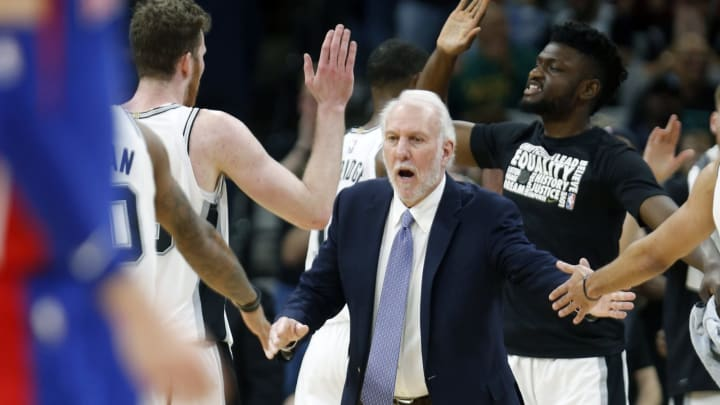 SAN ANTONIO, TX – FEBRUARY 27: Gregg Popovich head coach of the San Antonio Spurs congratulates his team after defeating the Detroit Pistons at AT&T Center on February 27, 2019 in San Antonio, Texas. (Photo by Ronald Cortes/Getty Images)