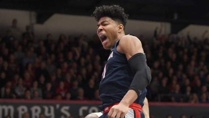 MORAGA, CA - MARCH 02: Rui Hachimura #21 of the Gonzaga Bulldogs reacts after a slam dunk against the Saint Mary's Gaels during the first half of an NCAA college basketball game at McKeon Pavilion on March 2, 2019 in Moraga, California. (Photo by Thearon W. Henderson/Getty Images)