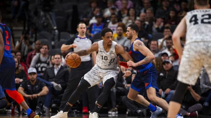 SAN ANTONIO, TX - MARCH 2: DeMar DeRozan #10 of the San Antonio Spurs handles the ball against the Oklahoma City Thunder on March 2, 2019 at the AT&T Center in San Antonio, Texas. NOTE TO USER: User expressly acknowledges and agrees that, by downloading and or using this photograph, user is consenting to the terms and conditions of the Getty Images License Agreement. Mandatory Copyright Notice: Copyright 2019 NBAE (Photos by Zach Beeker/NBAE via Getty Images)