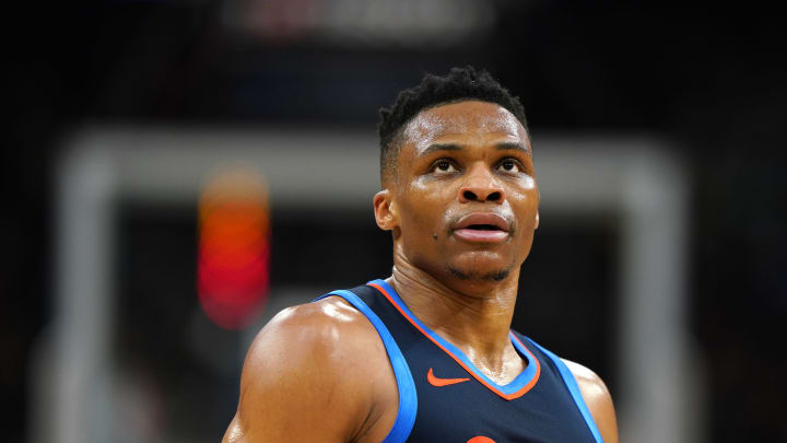 SAN ANTONIO, TX – MARCH 2: Russell Westbrook #0 of the Oklahoma City Thunder looks on during a game against the San Antonio Spurs on March 2, 2019 at the AT&T Center in San Antonio, Texas. (Photos by Darren Carroll/NBAE via Getty Images)