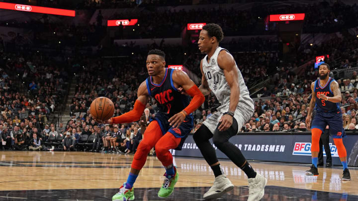 SAN ANTONIO, TX – MARCH 2: Russell Westbrook #0 of the Oklahoma City Thunder handles the ball against the San Antonio Spurs on March 2, 2019 at the AT&T Center in San Antonio, Texas. (Photos by Darren Carroll/NBAE via Getty Images)