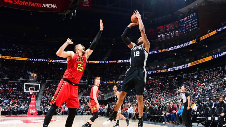 ATLANTA, GA – MARCH 6: LaMarcus Aldridge #12 of the San Antonio Spurs shoots the ball against the Atlanta Hawks on March 6, 2019 at State Farm Arena in Atlanta, Georgia. (Photo by Scott Cunningham/NBAE via Getty Images)