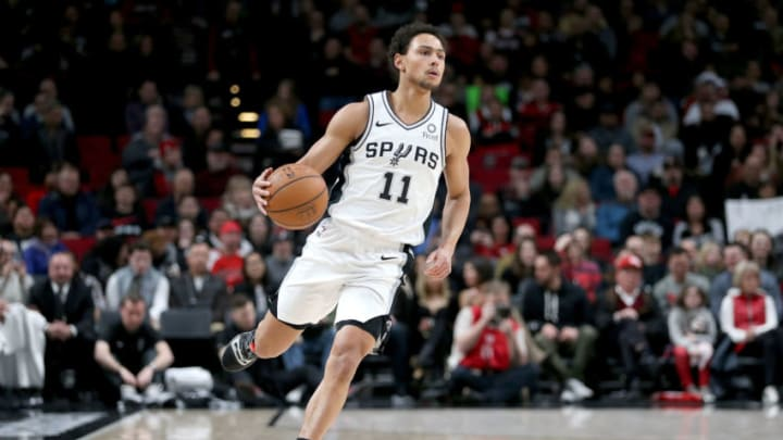 PORTLAND, OR - FEBRUARY 07: Bryn Forbes #11 of the San Antonio Spurs dribbles against the Portland Trail Blazers in the first quarter during their game at Moda Center on February 7, 2019 in Portland, Oregon. NOTE TO USER: User expressly acknowledges and agrees that, by downloading and or using this photograph, User is consenting to the terms and conditions of the Getty Images License Agreement. (Photo by Abbie Parr/Getty Images)