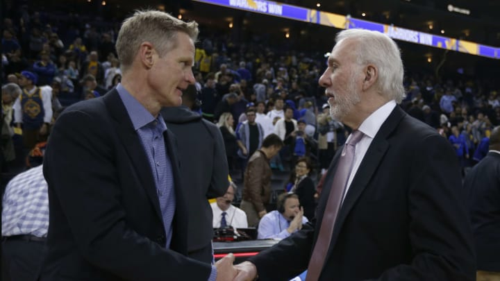 OAKLAND, CA – FEBRUARY 6: Golden State Warriors head coach Steve Kerr shakes hands with San Antonio Spurs head coach Gregg Popovich following the Warriors 141-102 win at Oracle Arena in Oakland, Calif., on Wednesday, Feb. 6, 2019. (Photo by Nhat V. Meyer/MediaNews Group/The Mercury News via Getty Images)