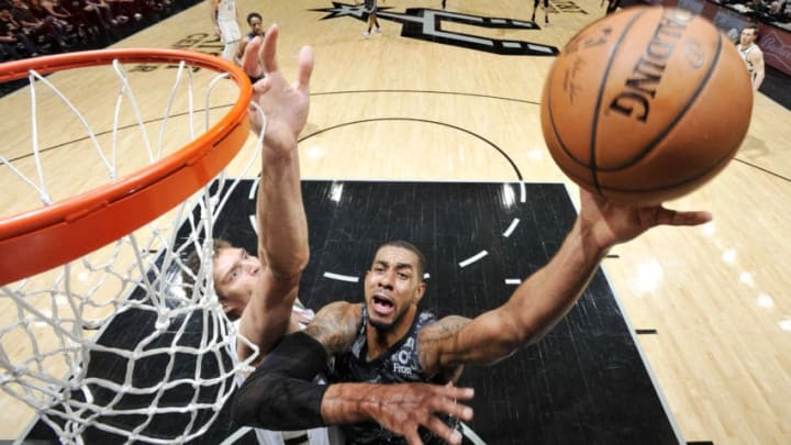 SAN ANTONIO, TX - MARCH 10: LaMarcus Aldridge #12 of the San Antonio Spurs shoots the ball against the Milwaukee Bucks on March 10, 2019 at the AT&T Center in San Antonio, Texas. NOTE TO USER: User expressly acknowledges and agrees that, by downloading and or using this photograph, user is consenting to the terms and conditions of the Getty Images License Agreement. Mandatory Copyright Notice: Copyright 2019 NBAE (Photos by Mark Sobhani/NBAE via Getty Images)