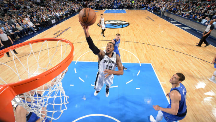 DALLAS, TX – MARCH 12: LaMarcus Aldridge #12 of the San Antonio Spurs goes to the basket against the Dallas Mavericks on March 12, 2019 (Photo by Glenn James/NBAE via Getty Images)