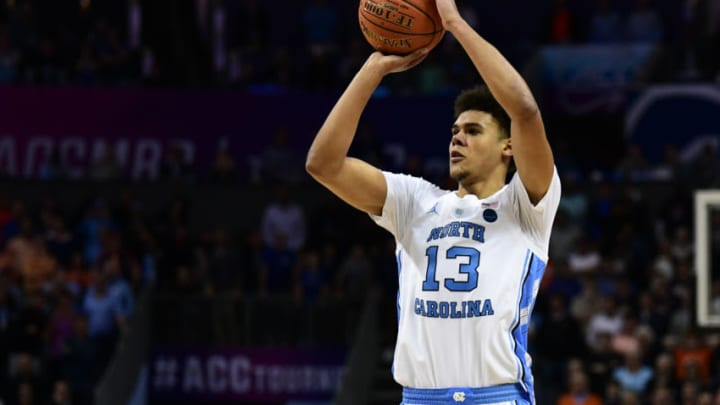 CHARLOTTE, NC - MARCH 15: North Carolina Tar Heels guard Cameron Johnson (13) shoots an open three point shot during the ACC basketball tournament between the Duke Blue Devils and the North Carolina Tar Heels on March 15, 2019, at the Spectrum Center in Charlotte, NC. (Photo by William Howard/Icon Sportswire via Getty Images)
