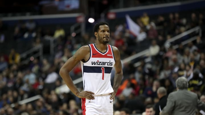 WASHINGTON, DC – MARCH 18: Trevor Ariza #1 of the Washington Wizards looks on against the Utah Jazz on March 18, 2019 at the Capital One Arena in Washington, DC. (Photo by Ethan Stoler/NBAE via Getty Images)