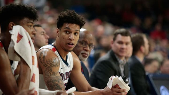 SPOKANE, WA - FEBRUARY 21: Brandon Clarke #15 of the Gonzaga Bulldogs looks on from the bench in the second half against the Pepperdine Waves at McCarthey Athletic Center on February 21, 2019 in Spokane, Washington. Gonzaga defeated Pepperdine 92-64. (Photo by William Mancebo/Getty Images)
