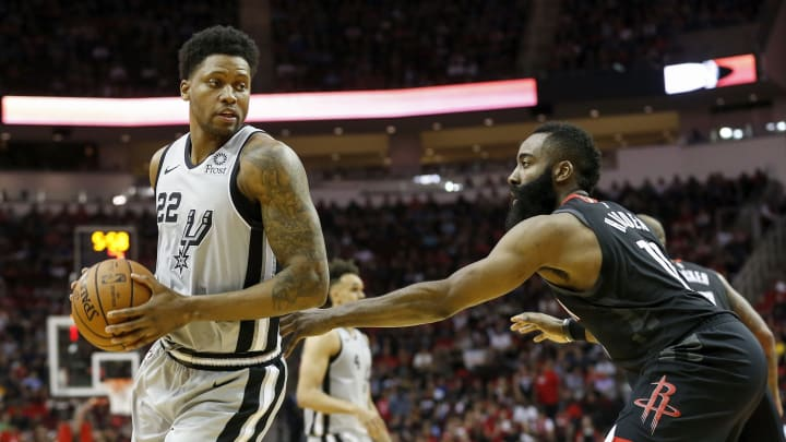 HOUSTON, TX – MARCH 22: Rudy Gay #22 of the San Antonio Spurs controls the ball defended by James Harden #13 of the Houston Rockets (Photo by Tim Warner/Getty Images)