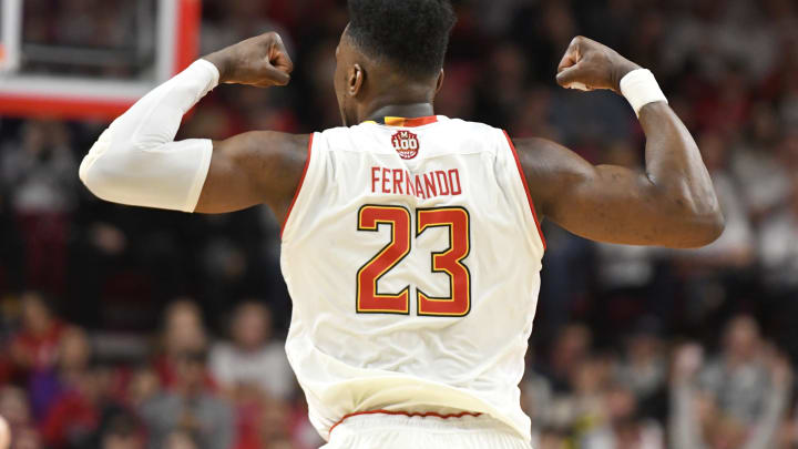 COLLEGE PARK, MD – FEBRUARY 23: Bruno Fernando #23 of the Maryland Terrapins celebrates a shot during a college basketball game against the Ohio State Buckeyes at the XFinity Center on February 23, 2019 in College Park, Maryland. (Photo by Mitchell Layton/Getty Images)