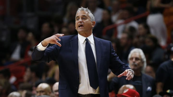MIAMI, FLORIDA – FEBRUARY 25: Head coach Igor Kokoskov of the Phoenix Suns reacts against the Miami Heat during the second half at American Airlines Arena on February 25, 2019 in Miami, Florida. (Photo by Michael Reaves/Getty Images)