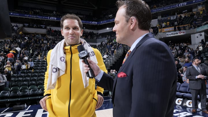 INDIANAPOLIS, IN – MARCH 24: Bojan Bogdanovic #44 of the Indiana Pacers is interviewed after a game against the Denver Nuggets (Photo by Ron Hoskins/NBAE via Getty Images)