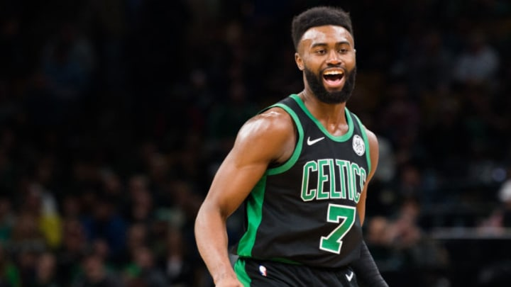 BOSTON, MA - MARCH 24: Jaylen Brown #7 of the Boston Celtics reacts during a game against the San Antonio Spurs at TD Garden on March 24, 2019 in Boston, Massachusetts. NOTE TO USER: User expressly acknowledges and agrees that, by downloading and or using this photograph, User is consenting to the terms and conditions of the Getty Images License Agreement. (Photo by Kathryn Riley/Getty Images)