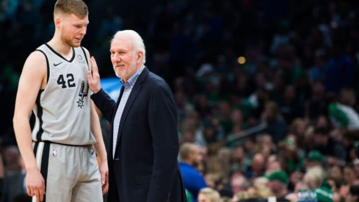 BOSTON, MA - MARCH 24: San Antonio Spurs head coach Gregg Popovich talks with Davis Bertans #42 of the San Antonio Spurs at TD Garden on March 24, 2019 (Photo by Kathryn Riley/Getty Images)