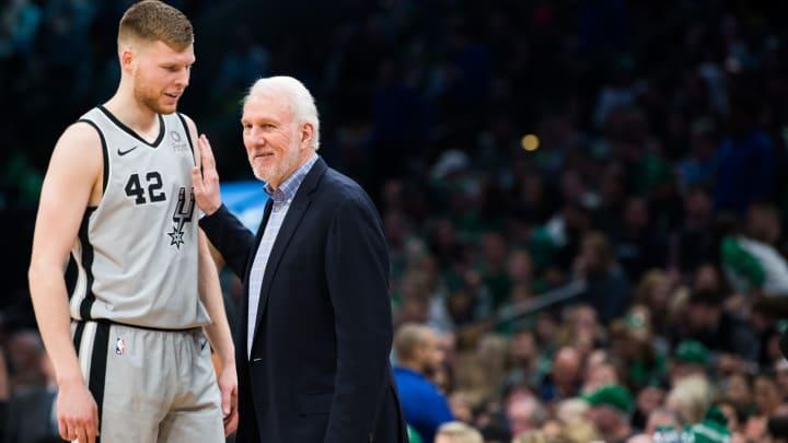 BOSTON, MA – MARCH 24: San Antonio Spurs head coach Gregg Popovich talks with Davis Bertans #42 of the San Antonio Spurs at TD Garden on March 24, 2019 (Photo by Kathryn Riley/Getty Images)