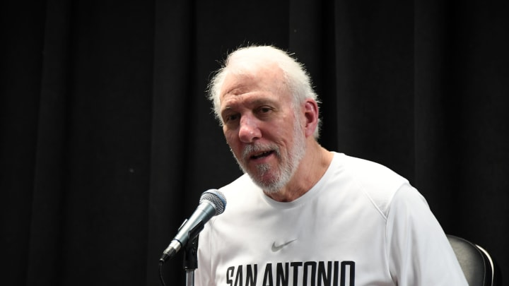 SAN ANTONIO, TX – MARCH 28: Head Coach Gregg Popovich of the San Antonio Spurs is interviewed prior to a game (Photos by Andrew D. Bernstein/NBAE via Getty Images)