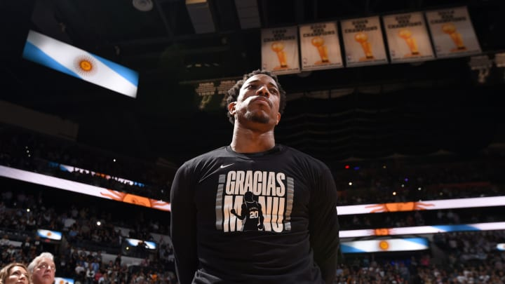 SAN ANTONIO, TX – MARCH 28: DeMar DeRozan #10 of the San Antonio Spurs stands for the National Anthem prior to a game against the Cleveland Cavaliers (Photos by Andrew D. Bernstein/NBAE via Getty Images)