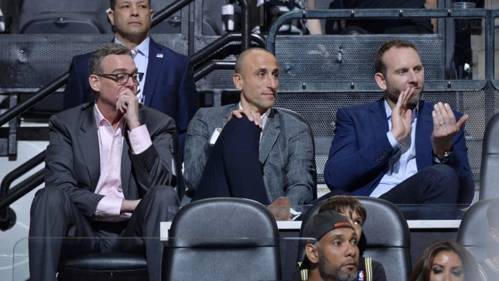 SAN ANTONIO, TX – MARCH 28: RC Buford, Manu Ginobili, and Sean Marks attend a game between the San Antonio Spurs and Cleveland Cavaliers on March 28, 2018 at the AT&T Center in San Antonio, Texas. (Photos by Mark Sobhani/NBAE via Getty Images)
